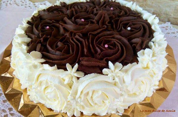 Tarta de rosas II, nata, trufa y crema