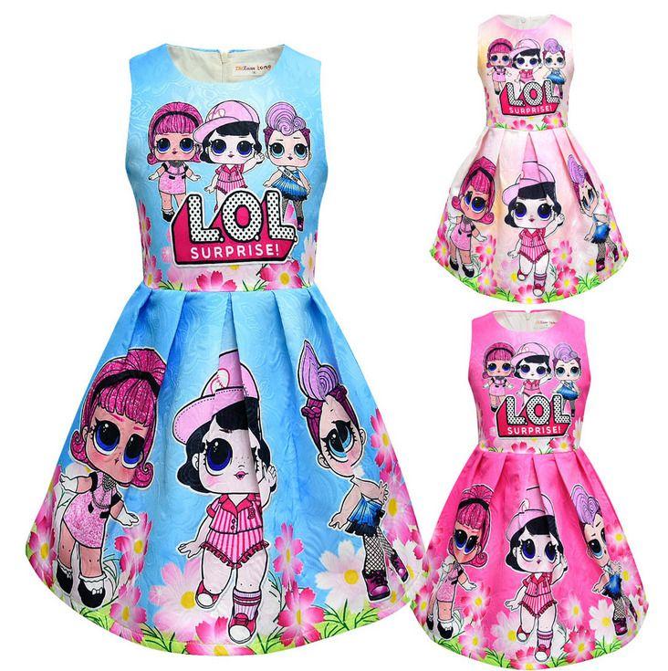 LOL Surprise Girl Dress Birthday Party Princess Fancy Summer Skater Dress UK