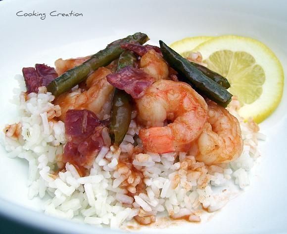 Bbq shrimp and rice: Bbq Shrimp, Boats Loaded, Cooking Creations, Shrimp Bacon, Foodies Inspiration, Bbq Paradis, Green Beans Bacon, Shrimp Rice, Bacon Green