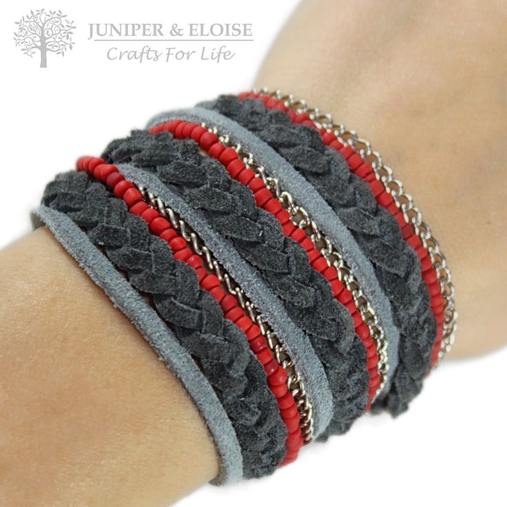 Womens BOHO Bracelet , Beaded Bracelet , Bracelet For Women , Cool Bracelet, Red - Gray Triple Wrap Bracelet , Womens Jewelry , For Ladies by JUNIPERANDELOISE on Etsy