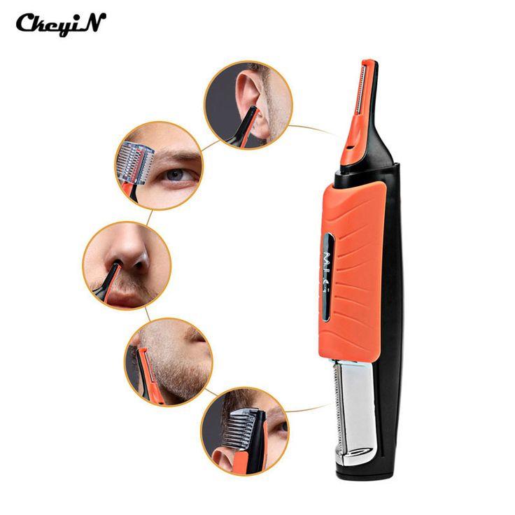 Ckeyin telinga hidung alis pemangkas removal clipper dibangun di lampu led wajah perawatan pribadi alat cukur listrik multifungsi rambut trimer