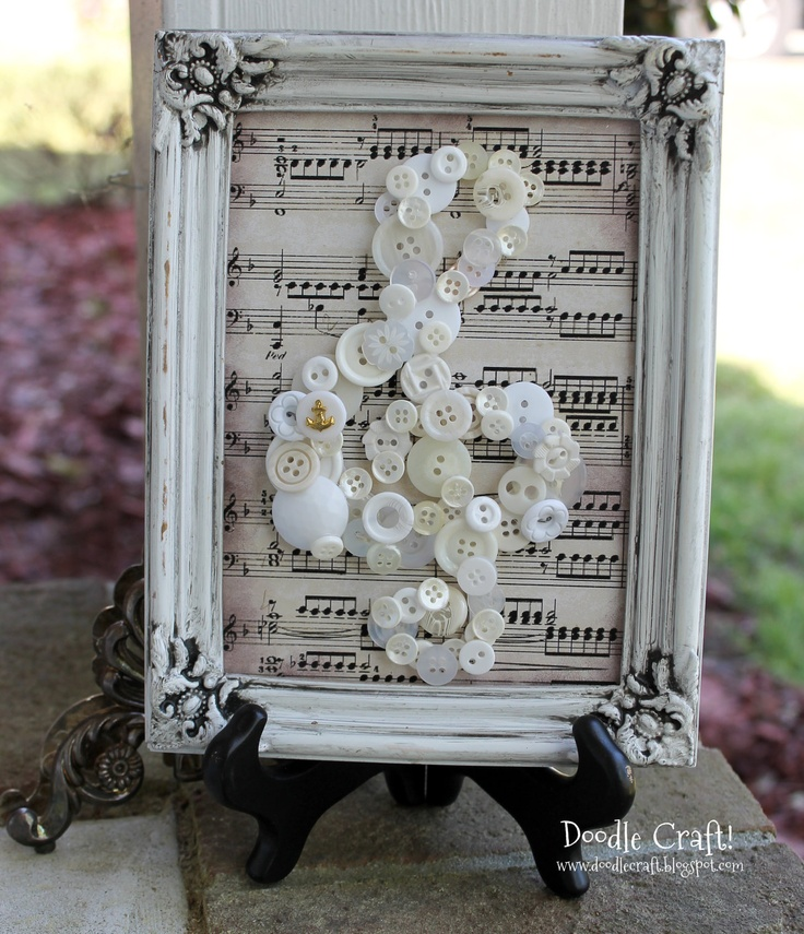 5 by 7 glazed White Vintage frame Buttons/Map Treble clef music piano teacher decor button collector gift for music teacher