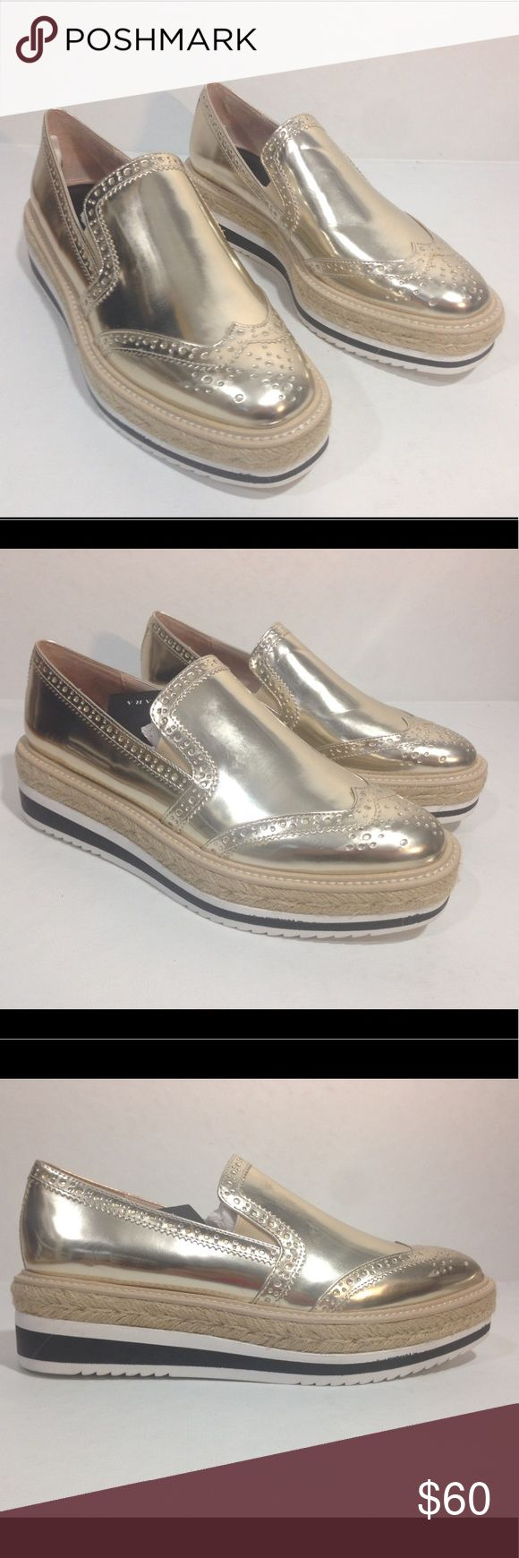 ZARA GOLDEN PLATFORM LOAFERS New with tags, no box. Size 37/6.5. No defects UPPER:  100% polyurethane  LINING:  80% polyurethane, 20% polyester  SOLE:  100% ethylene vinyl acetate Zara Shoes Platforms