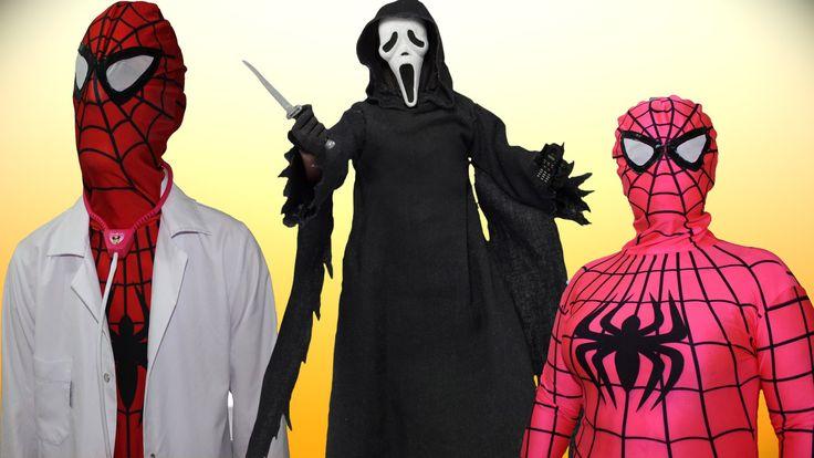 Spiderman real life spidergirl vs joker w/ SCREAM Funny superheroes in r...