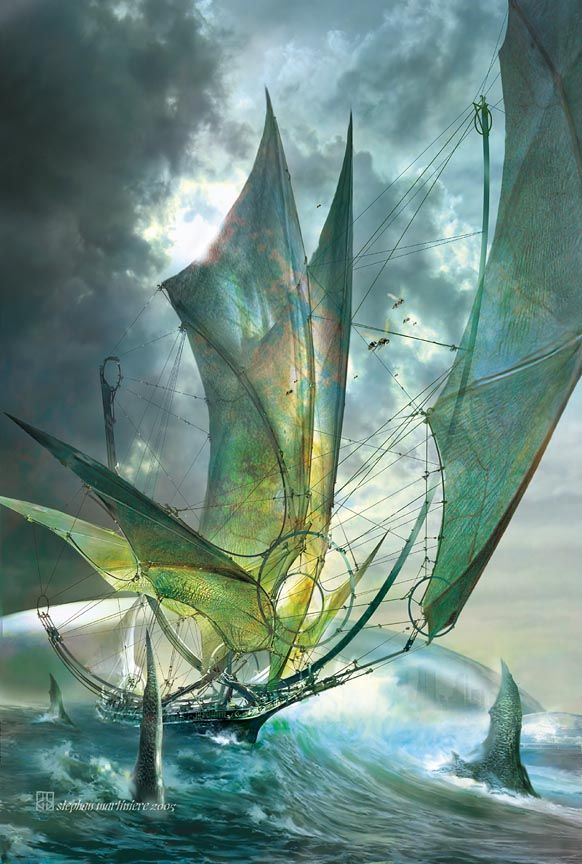Great ships with sails made from dragon wings. Stephan Martiniere