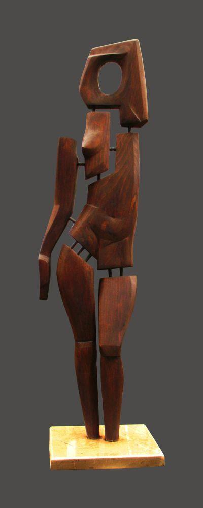 Wood. metal. stone Interior Sculptures #sculpture by #sculptor David Sirbiladze titled: 'Lady in wood' £2500 #art