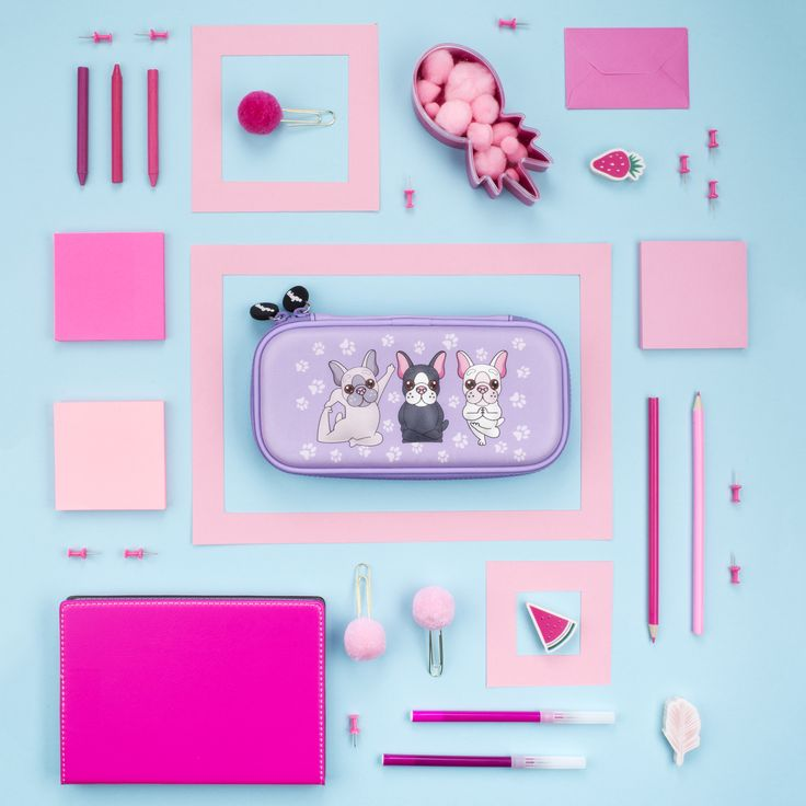 Cute pugs doing yoga pencil case. Lovely, compact, lilac pencil case for busy girls. The small, embossed stationary accessory is ideal for already pack bags.