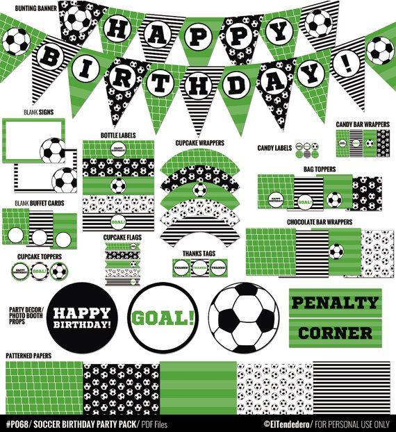 Decoración para fiesta de cumpleaños de fútbol por eltendedero                                                                                                                                                                                 Más
