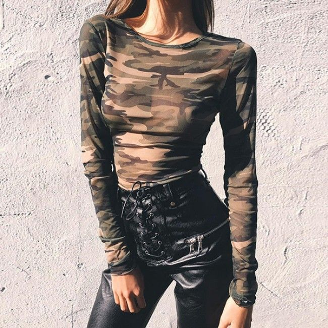 Camouflage Fitted Long Sleeve Top