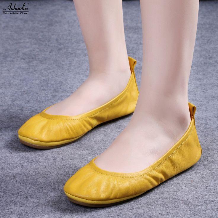 Goedkope Aohaolee mode vrouwen schoenen flats comfortabele lederen bruids schoenen ballerina ballet flats opvouwbare flats zwangere schoenen, koop Kwaliteit Vrouwen Flats rechtstreeks van Leveranciers van China: Aohaolee mode vrouwen schoenen flats comfortabele lederen bruids schoenen ballerina ballet flats opvouwbare flats zwangere schoenen
