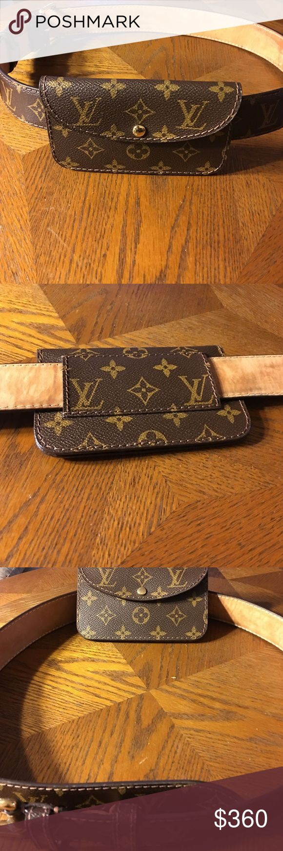 Louis Vuitton belt with pouch Louis Vuitton belt with pouch super cute and girly.  percent real size 40. Used but it's in great condition. Please No low ball offers and no trades  Louis Vuitton Accessories Belts