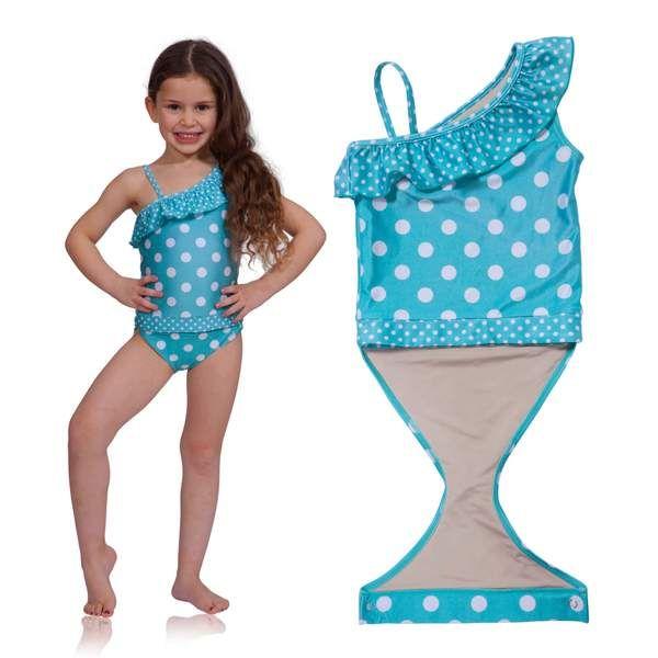 6b9ecb9beb Aqua Polka Dot One-Shoulder Swimsuit with Ruffle | Infants, toddlers ...