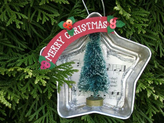 """4"""" vintage Jello mold tin star twinkle Christmas ornament with bottle brush tree and recycled hymnal sheet music"""