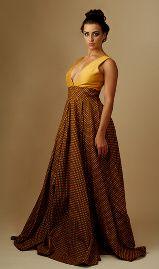 Box pleat yellow and brown shweshwe dress