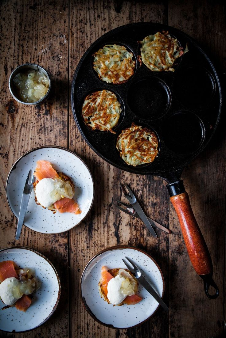 Potato fritters with horseradish creme fraiche, smoked salmon and fennel marmalade recipe