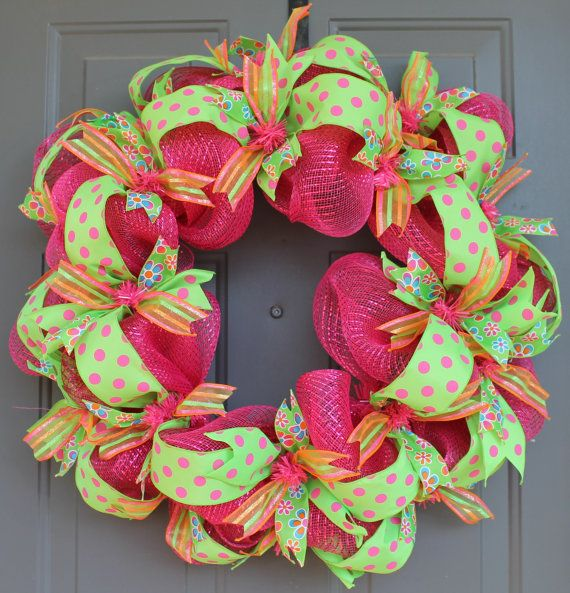 mesh ribbon wreaths | Spring Deco Mesh and Ribbon Wreath by AllWrappedUpInRibbon on Etsy
