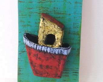 Paper Mache Boat on Wood Wall Hanging