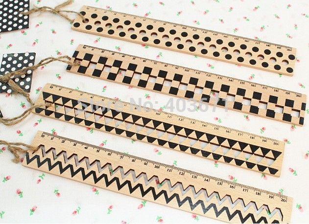 Aliexpress.com :  Neue mode streifen& Punkte ausführungen, stil holz lineal/gerade lineal/Großhandel von verlässlichen lineal länge-Lieferanten auf Bobo & Hans kaufen