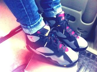 shoes girl air jordan black pink white jordans sneakers high top sneakers grey