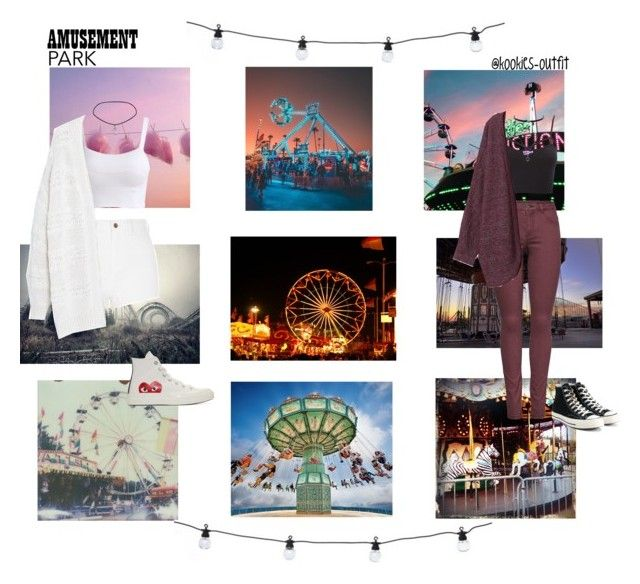 """""""Amusement Park Couple outfit"""" by kookies-outfit on Polyvore featuring Lime Crime, Polaroid, Charlotte Russe, JDY, Monki, Converse, Jessica Simpson, River Island, Violeta by Mango and Play Comme des Garçons"""