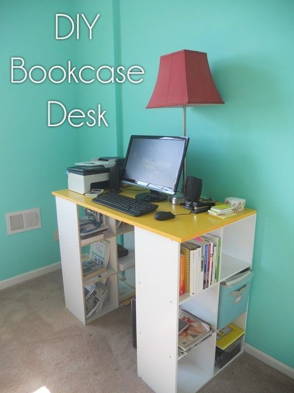 Check out this idea for a #DIY bookshelf desk. Looks easy enough! #HomeDecorIdeas @istandarddesign