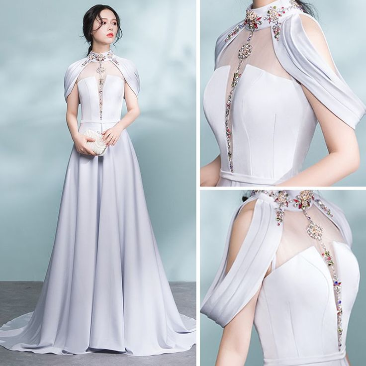 Modern / Fashion Grey Pierced Evening Dresses 2017 A-Line / Princess High Neck Strapless Beading Crystal Sash Sweep Train Backless Formal Dresses
