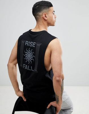 4440d97b1f68a ASOS DESIGN dropped armhole vest with rise   fall back print