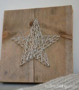DIY-Idee halbachblog: Stern aus Silberkordel und Nägeln auf Holzbrett