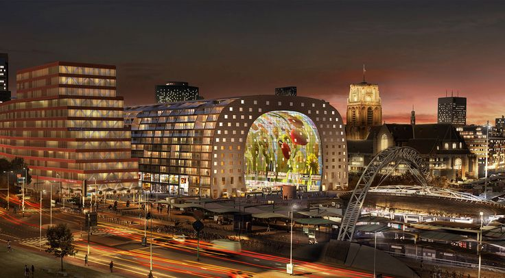 The Markthal Rotterdam, a covered food market and housing development in Rotterdam, Netherlands.