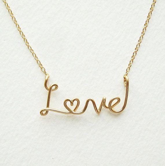 Gold Love Necklace. Aziza Jewelry. 14k Gold Fill Cursive Script