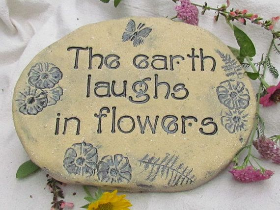 garden stone mothers day gift ceramic art tile with stamped text butterfly art for the home or outdoors
