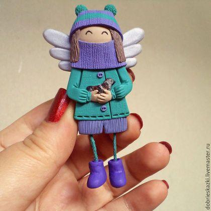 Купить или заказать Брошь-ангел с воробьём. в интернет-магазине на Ярмарке…