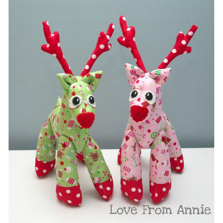 $35.00 Christmas Reindeer Rudolph  Pink or Green by lovefromannie on Handmade Australia