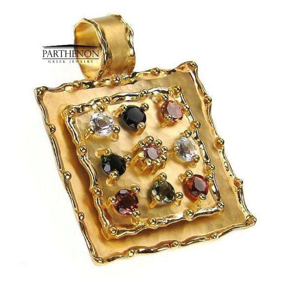 18k Gold Byzantine Square Pendant by ParthenonGreekJewels on Etsy