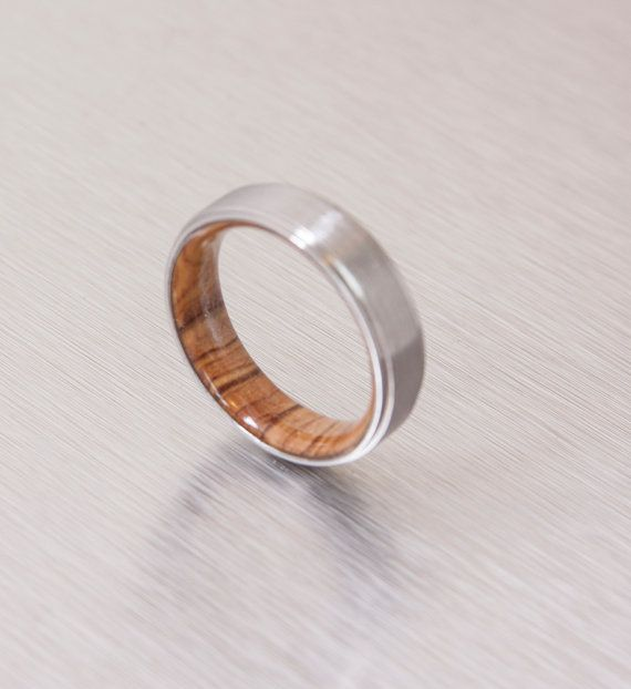 Titanium and Olive Rings // Mens Wood Rings //wood by aboutjewelry