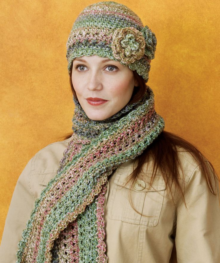 Free Crochet Patterns Hats Scarves : Crocheted Cloche & Scarf Set Crochet scarves Pinterest