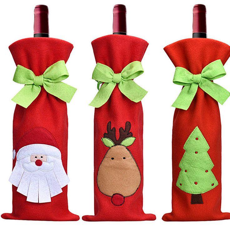 Rojo Tapa de árbol de Santa Botella de vino Bolsas de cena de Navidad Fiesta Decoraciones Regalo | Hogar y jardín, Decoración para fiestas y de temporada, Navidad e invierno | eBay!