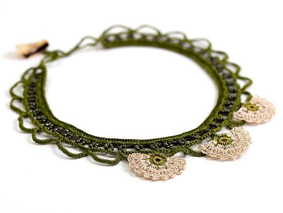 Green Crochet Lace Statement Necklace Ivory Choker by PinaraDesign