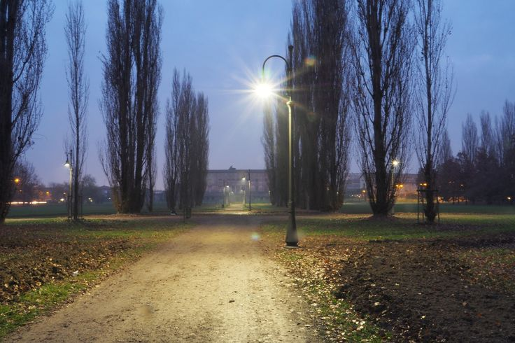 Parco Ducale. Newly installed LED lighting system, Sassuolo, Italy.