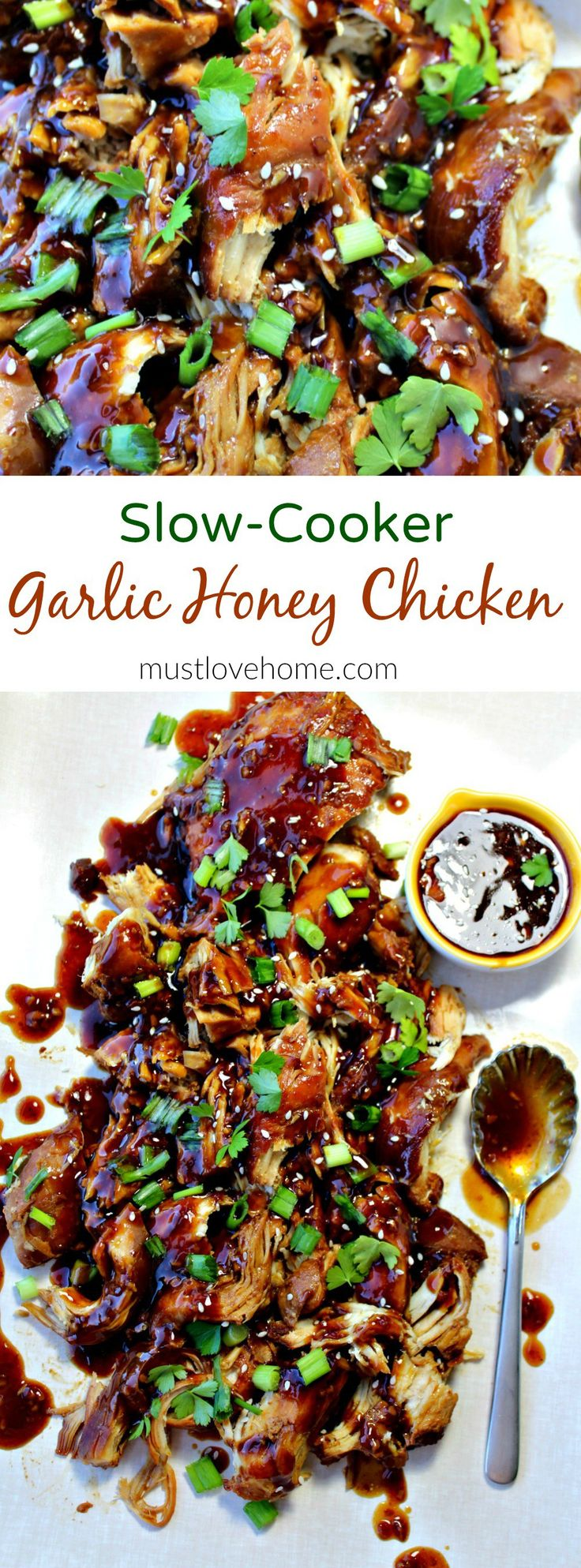 This Slow Cooker Garlic Honey Chicken is tender, slow cooked chicken breasts covered in a sweet, spicy garlic sauce that will have everyone asking for seconds!
