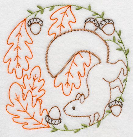 Vintage Embroidery ~ Squirrel Gathering Acorns  ~ Design H6551 from www.Emblibrary.com ....