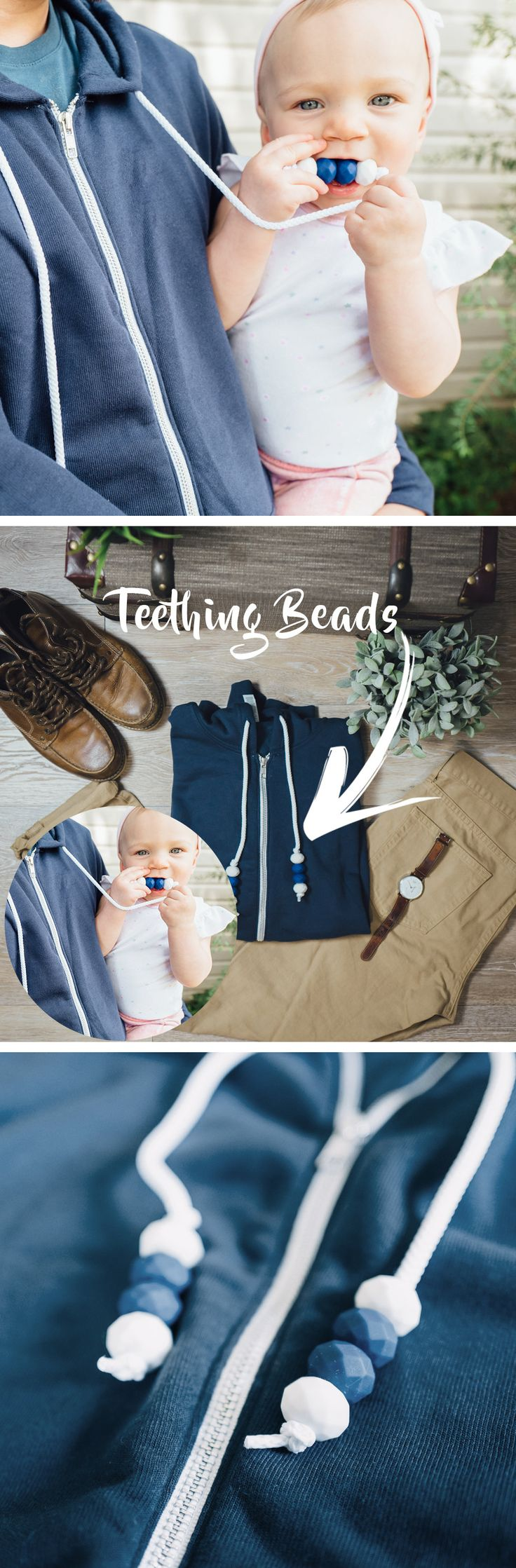 Men's hoodie with built-in silicone teething beads! Sweatshirt with Teething Beads // Men's (Size XL) // Teething Hoodie // Blue + White / Gift for New Dad, New Father // Dad Sweatshirt | teething jewellery for Dad's!