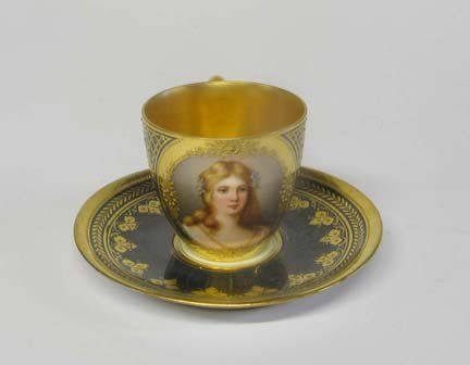 Vienna porcelain cup and saucer, late 19th century