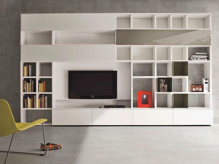 Mueble modular de pared lacado con soporte para tv SPEED E Colección Speed by Dall'Agnese | diseño Imago Design, Massimo Rosa