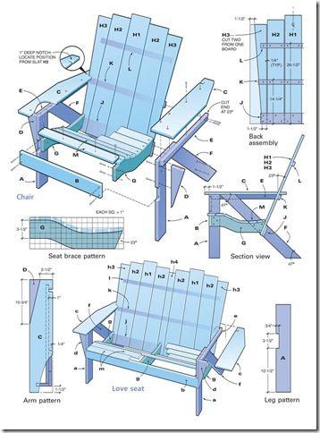 Les 16 meilleures images propos de best adirondack chair for Plan de chaise en bois gratuit