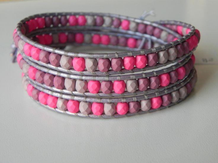 Bracciali da avvolgere - Bracciale wrapped a 3 giri pastel pink - un prodotto unico di SpinzMade su DaWanda