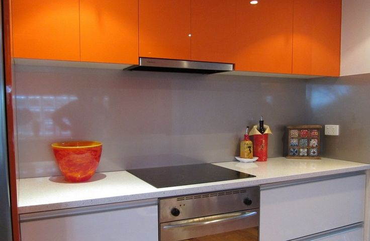 """Metaline Splashback in """" Silver Stream Perle """" what a great combination with the orange overhead cupboards - OzzieSplash, Building Construction, Central Mangrove, NSW, 2250 - TrueLocal"""
