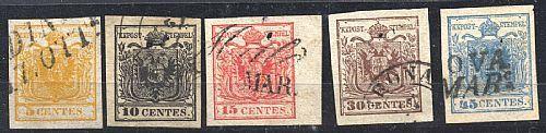 I em. carta a mano, serie completa con grandi margini ed ann. leggeri. Il 5 c. con cert. G.Bolaffi, il 10 e 45 c. firmati.