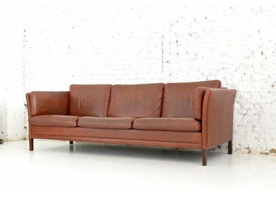 Three- Seater Danish Leather Sofa, 1960s 5