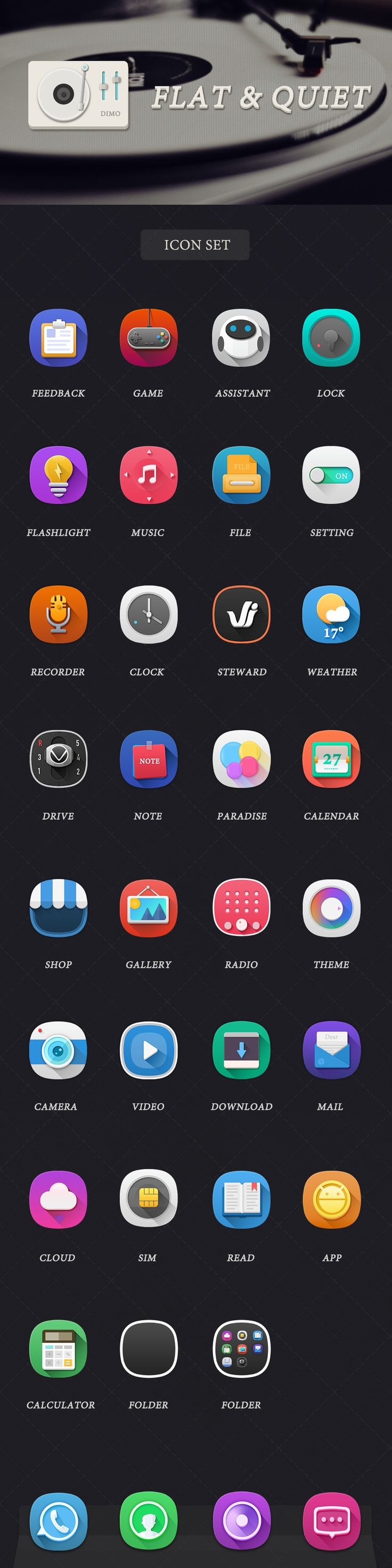 These icons are very clean and sharp looking. They aren't as in your face as others icon designs and they have a feel of refinement to them.